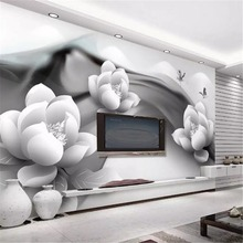 Custom Photo 3d Wallpaper Black And White Ink Lotus Butterfly Simple Living Room Home Decor Wall Covering