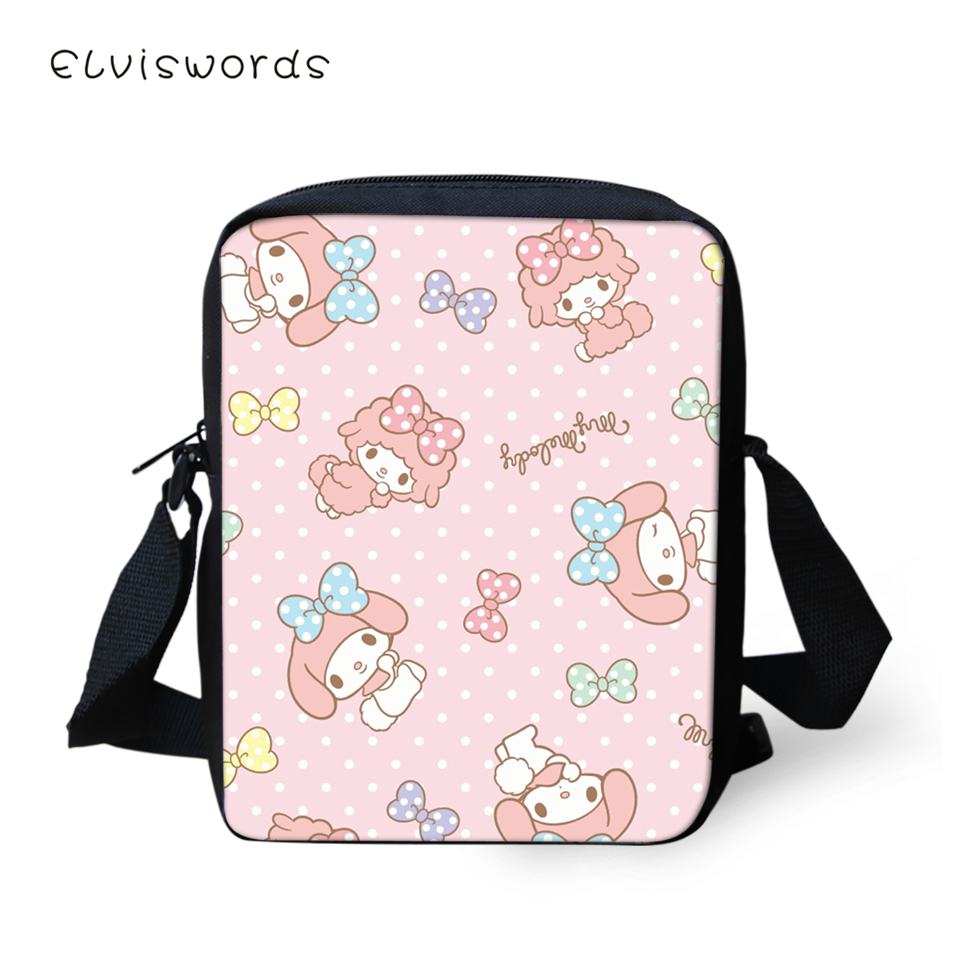 ELVISWORDS Fashion Women Messenger Bags Kawaii Girls Prints Shoulder Cartoon Animal Flaps Handbags Mini Kids Mochila