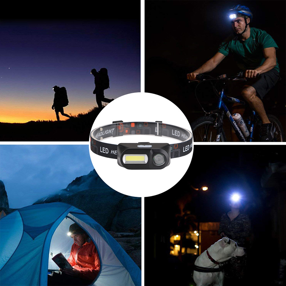 Купить с кэшбэком Portable COB LED Headlamp USB Head Lamp Rechargeable 18650 Battery Night Running Headlight Torch 5W for Fishing Camping Hiking