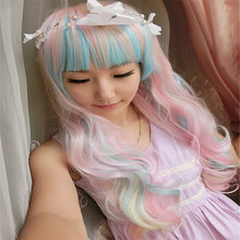 Long Wavy Ombre Pink and Blue 68cm 27 inch Synthetic Cosplay Hair Wigs Perucas Heat Resistant Halloween Party Wig for Lady Girl