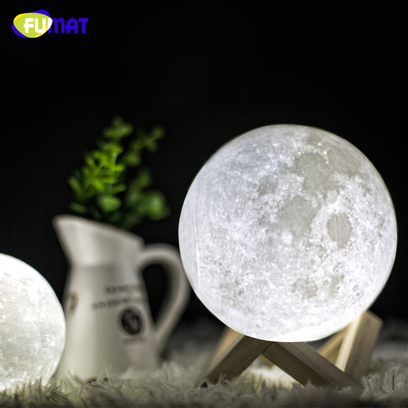 FUMAT 3D Print Moon Lamp with Touch-Sensing Switch 3D Lunar Lamp Color Changeable Night Lights For Decoration Kids Friend Gift