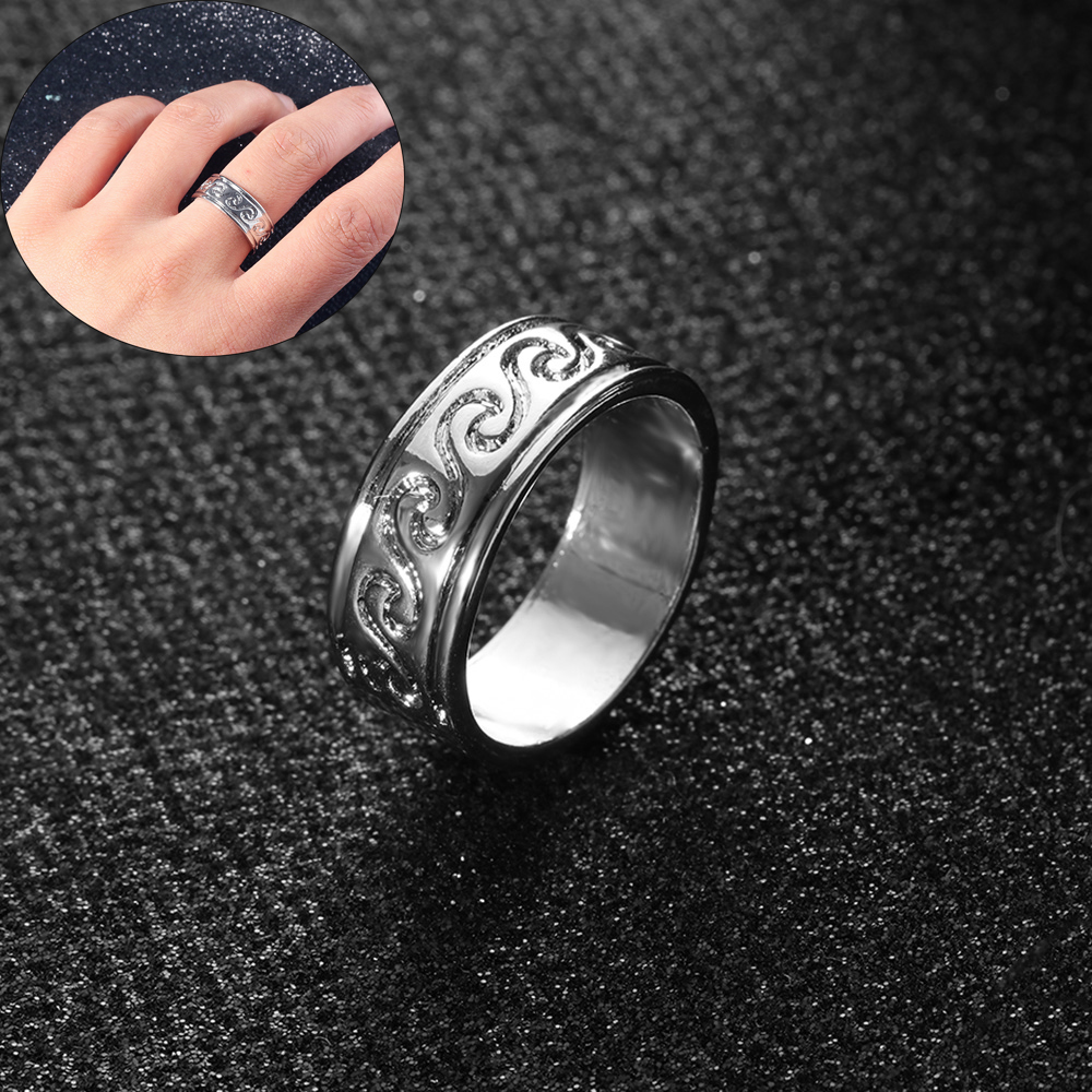 1Pcs NEW Woman Man Party Stainless Steel Vintage Wave Ring Retro Knuckle Ocean Wire Wrap Surf Band Rings Jewelry Gift Size 6-10