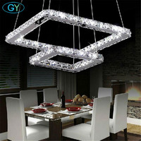 AC100 240V Remote Control LED Crystal Pendant Lights Modern Square Crystal Lampshade Suspension Lustres Iluminacion Lamparas