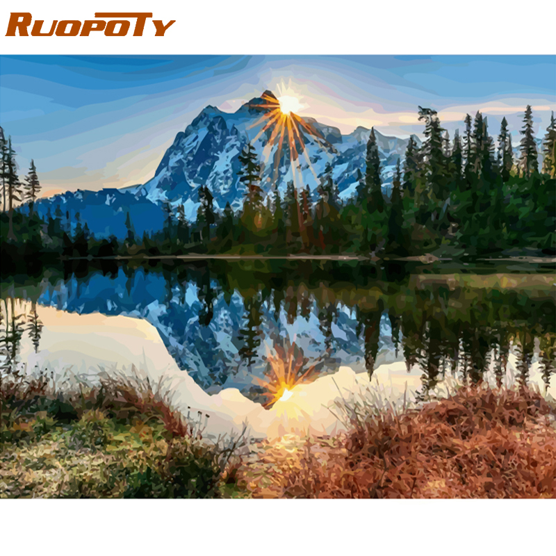 RUOPOTY Frame Snow Mountain DIY Painting By Numbers Kit Modern Home Wall Art Picture Acrylic Coloring By Numbers Artwork 40x50cm(China)