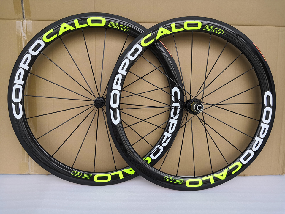 COPPOCALO C55 Fluo Yellow Carbon Wheels 3K 50mm Carbon Road Bike wheelset Chinese Factory Sale Racing