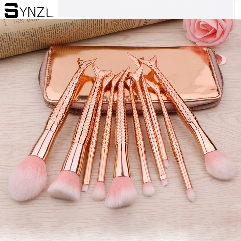 10Pcs Mermaid Make up Brush Set Fish Tail Foundation Powder Eyeshadow Makeup Brushes Contour Blending Cosmetic Brushes with bag focallure 10pcs makeup brushes set foundation blending powder eyeshadow contour blush brush beauty cosmetic make up tool kit