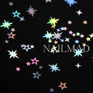 Image 3 - 1 תיבת מתומן הולוגרפית הולו כוכבים ציפורניים פאייטים כוכב צלב כוכב גליטר תערובות נצנצים נייל ארט קישוטי