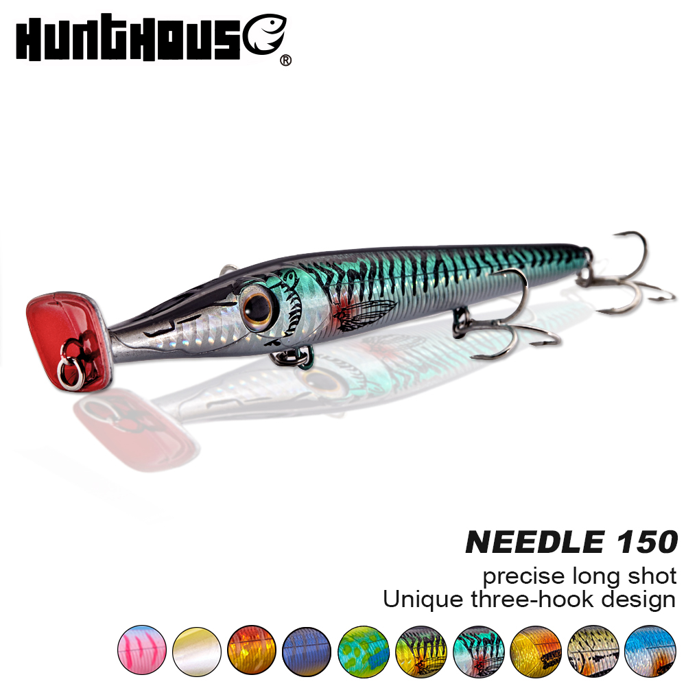 Hunthouse nuevo popper señuelos 150mm 20g Garfish 150 largo fundido lápiz cebos flotante stickbait para bass garfish topwater bluefish