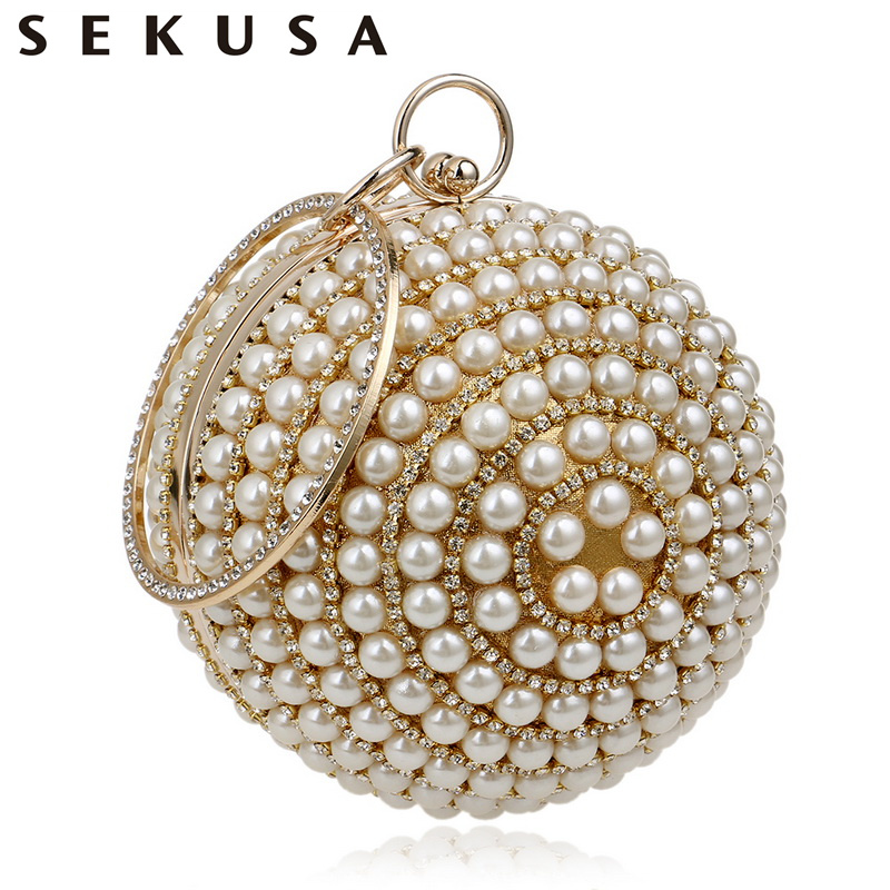SEKUSA Women's Pearl Beaded Evening Bags Pearl Beads Clutch Bags Handmade Wedding Bags Beige, Black Quality Assurance pearl beaded flounce skirt