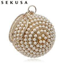 Round Design Pearl Rhinestones Evening Bags Handle Diamonds Small Purse Black/Gold/Silver