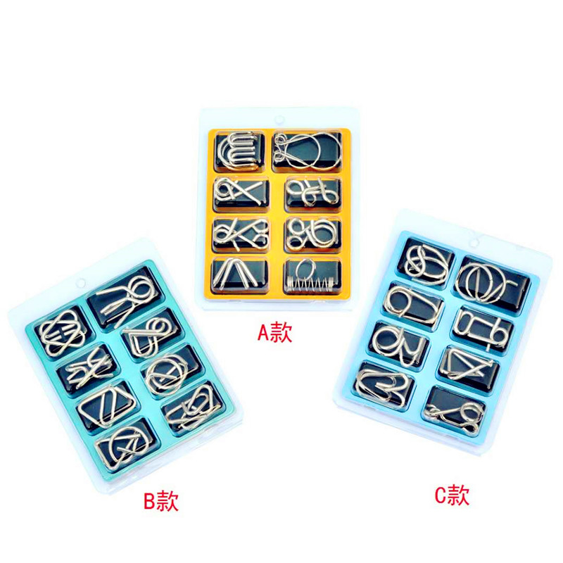 8pcs/Set Adult Games Metal Wire Puzzle IQ Mind Brain Teaser Puzzles Game Adults Man  Montessori Early Educational Toys