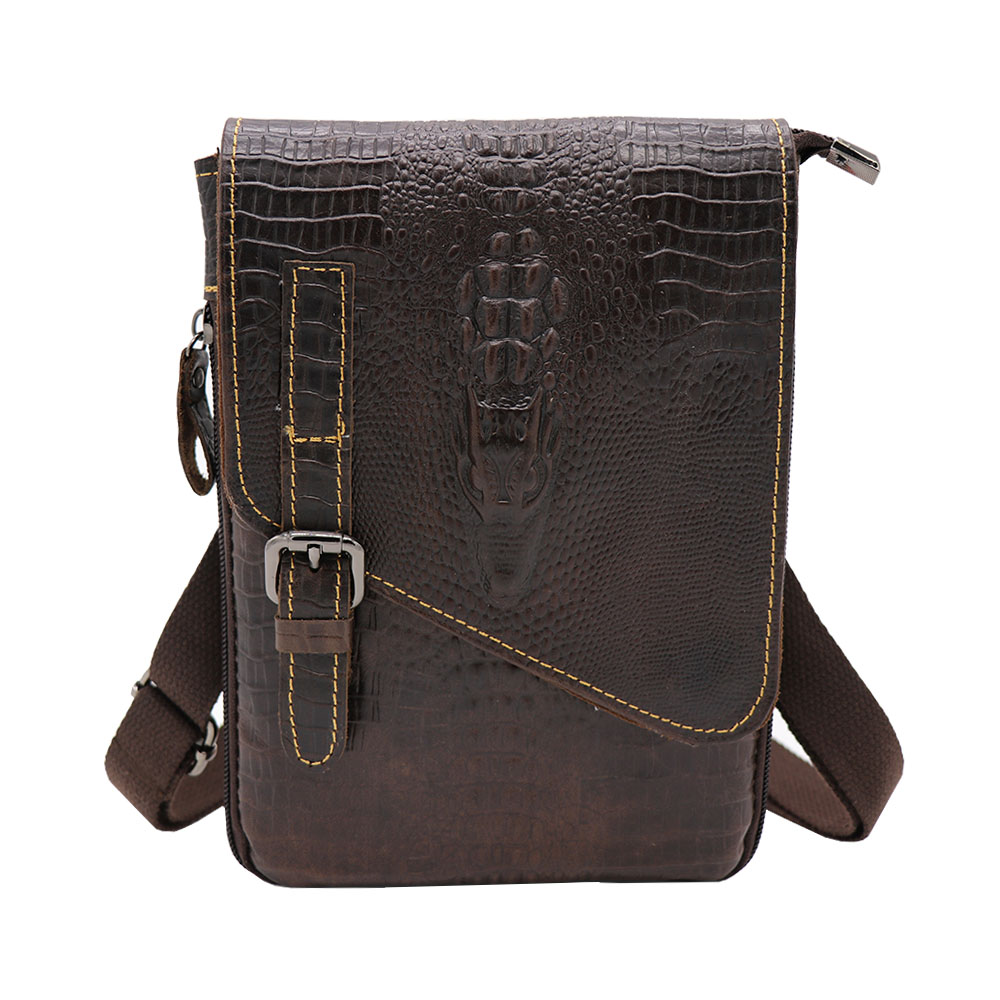 New Cheap Alligator Genuine Leather Casual Bag Men's Shoulder Bag Small Messenger Bag Travel Bags For Mobile Phone