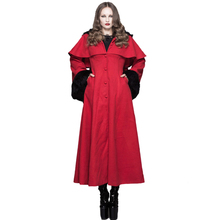 Devil Fashion European X-Long Winter Fleece Hooded Cloak Cape Gothic Punk Noble Women Flock Trench Coats with Fur Cuffs and Hood