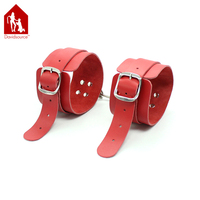 Davidsource Simply Red Leather Handcuffs With Adjustable Pin-Style Belt & Chain Hook Ankle Cuff Wrist Cuff Bondage Sex Toy
