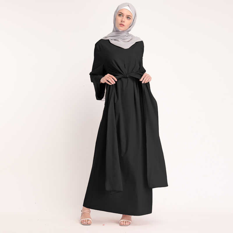 07796e760d8ab Kaftan Abaya Muslim Dress Dubai Turkey Ramadan Caftan Marocain Vestidos  Bandage Hijab Dresses Turkish Elbise Islamic Clothing