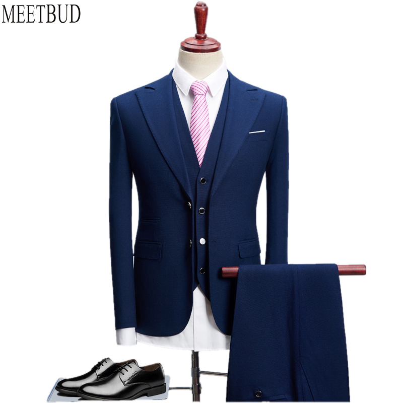 MEETBUD New brand men suit for wedding business casual slim fit prom party man dark blue black suits dress (jacket+pants+vest)