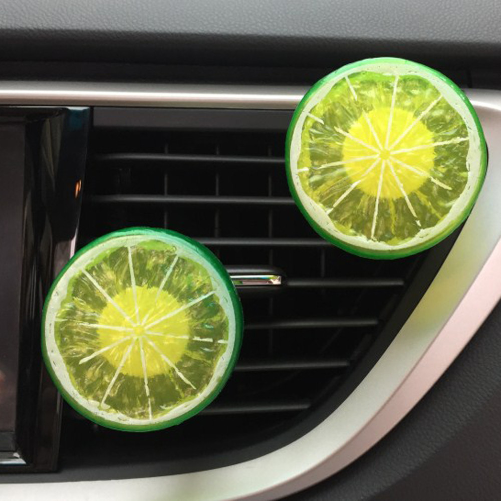 1Set Lemon piece Car Perfume Clip + Balm Lemon flavor Air Purifier Lady Car Styling Air  ...