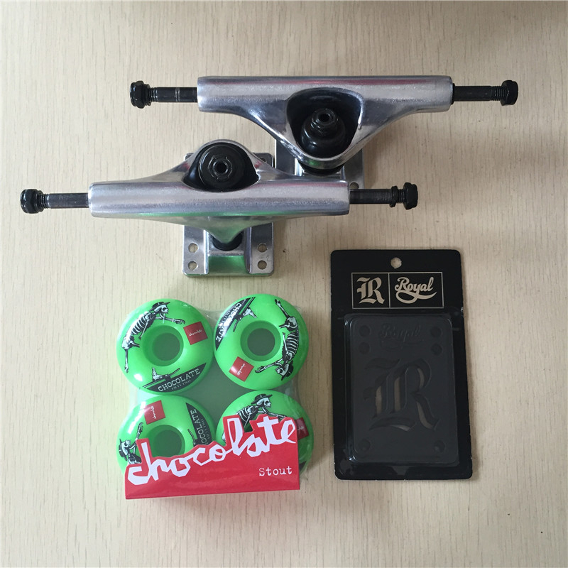 2016 Free Shipping Skateboard Parts Blank Aluminum 5.25 Skate Trucks And Chocolate PU Skate Wheels with Royal Riser Pads