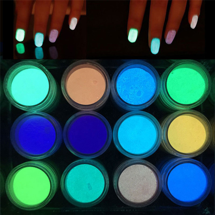 New 12PCS Glow in The Dark Nail Powder Sand Fluorescent