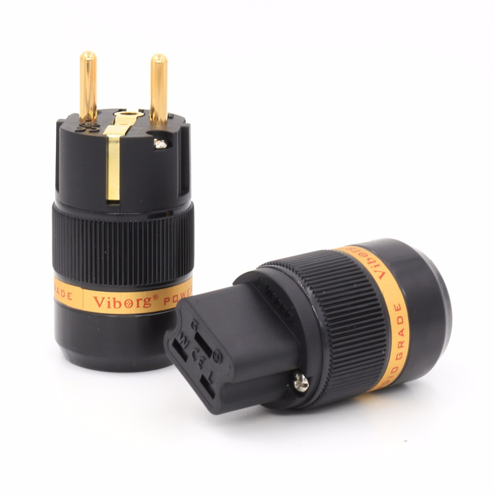 Free shipping one pair 99.999% viborg Red Copper 24K gold plated EU Male & 20A IEC Female power Plug Connector free shipping one pair sonar quest carbon fiber series eu gold plated power plug connector