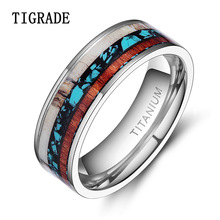 Vintage 8/6mm Men Wedding Ring Natural Genuine Deer Antler Wood Inlay Titanium Ring Warcraft Bague Femme Anillos Anel Masculino