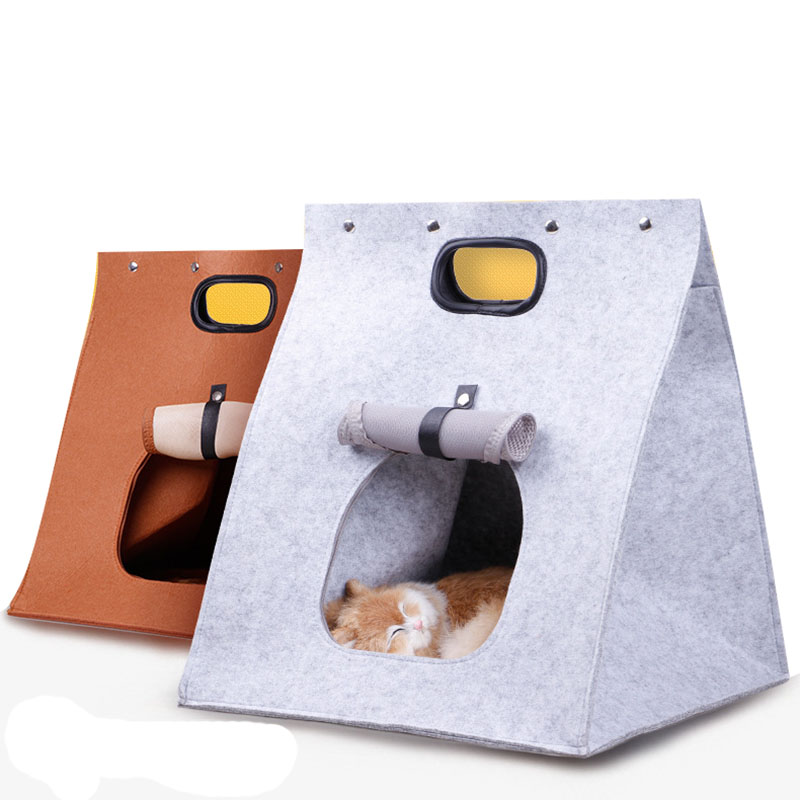 Multifunctional Cat House Warm Cat Mat Cushion Four Seasons Gray Pet Dog Bed Carry Bag Cat Portable Bag