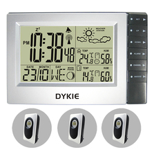 RF Radio Controlled Digital Wireless Weather Station Weather Forecast Clock Indoor Outdoor Temperature Humidity 3 Transmitters