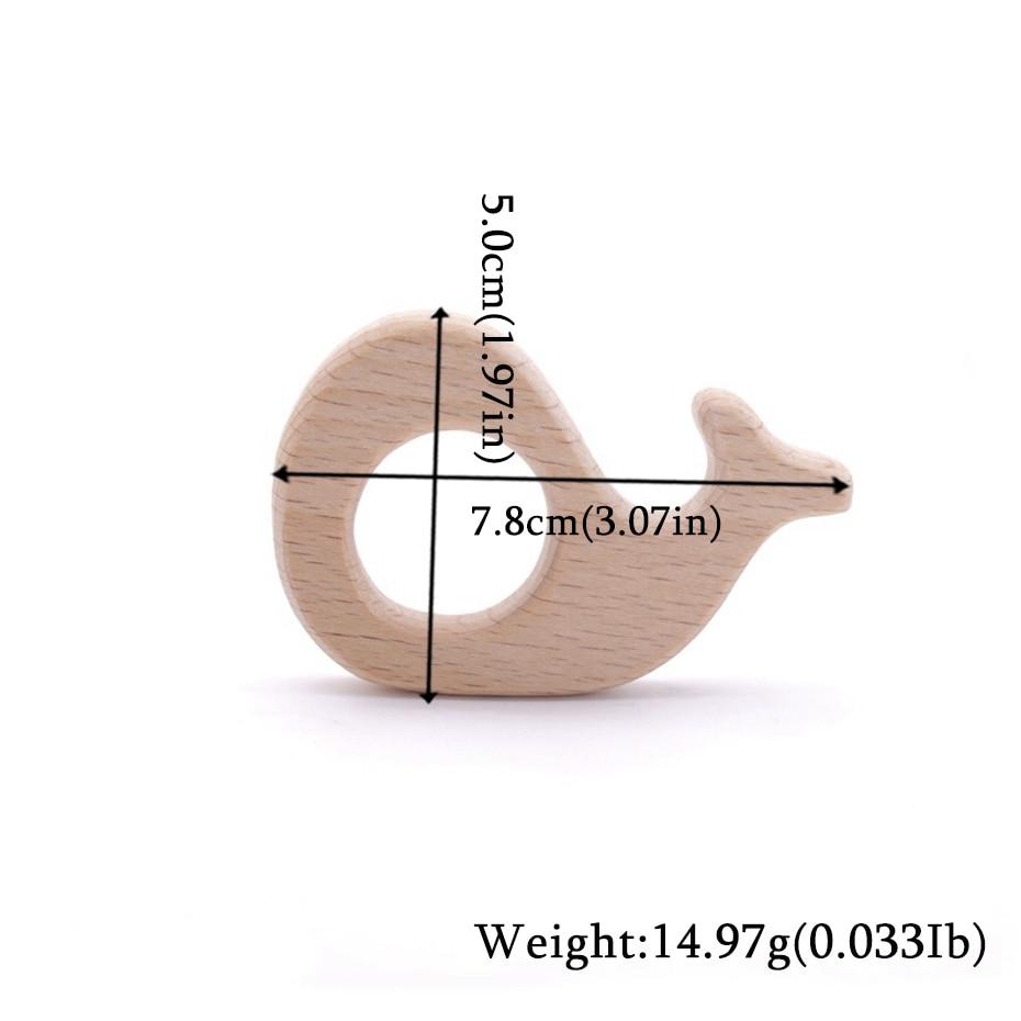 Let's Make Wooden Teether 20pc Natural Wooden Animal Hedgehog Porcupine Teething Rattle Montessori Inspired Nursing Pendant