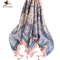 Fashion Fringed Brim Floral Wrap and Scarf Ethnic Style Flower Bandana Brand Design Flower Square Scarves and Shawls for Women