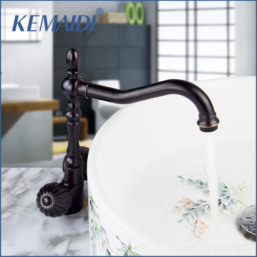 KEMAIDI Bathroom Faucets &Tap Single Lever Deck Mounted Oil Rubbed Bronze Finish Bathroom Basin Faucet Mixer Tap Hot And Cold 360 swivel kitchen faucets swivel oil rubbed bronze deck mounted mixer tap bathroom faucet basin mixer hot cold tap faucet