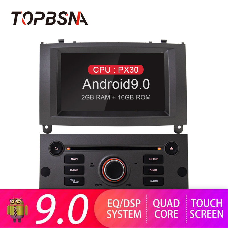 TOPBSNA Android 9.0 Auto DVD Player für Peugeot 407 2004-2010 WIFI Auto Multimedia-Player 1 Din GPS Navi Radio automotive Stereo