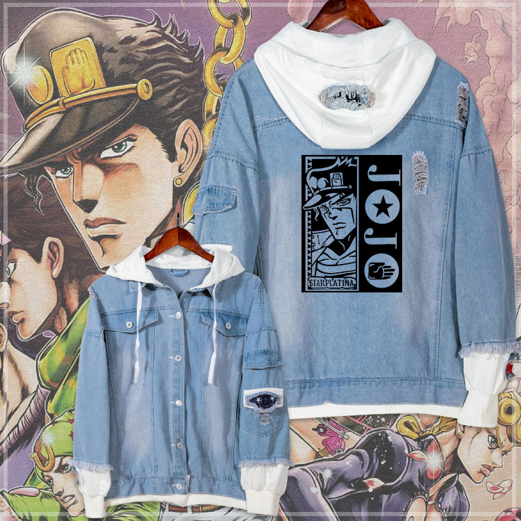 Anime Jeans Coat JoJo's Bizarre Adventure Cosplay Casual Jacket Spring Autumn Hooded Sweatshirt Unisex Student Denim Outwear