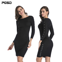 PGSD Autumn winter Simple fashion Women clothes Long-sleeved medium-length wicker-nailed buttock knitted sexy black Dress female