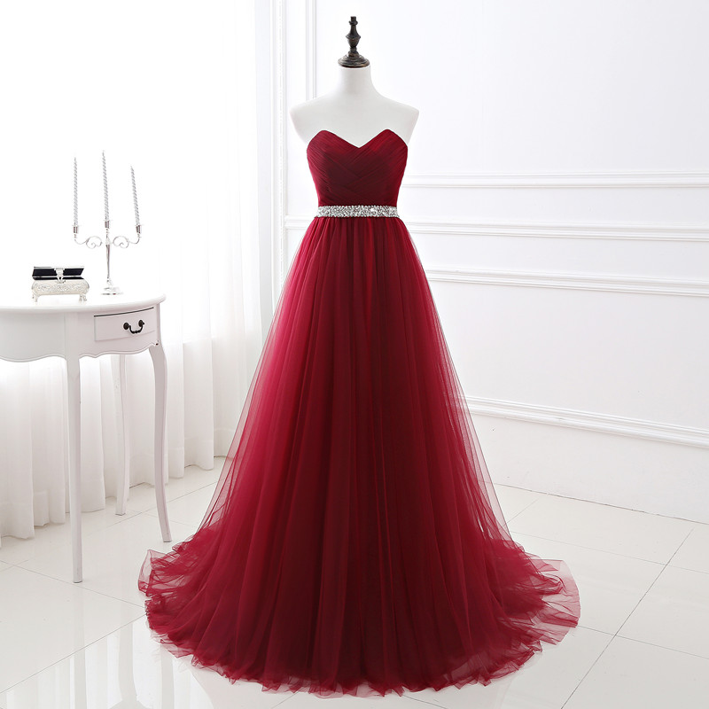 Beauty Emily Wine Red Long   Evening     Dresses   2019 Sweetheart Sleeveless Lace Up Floor-Length Beading Form Party Prom   Dresses