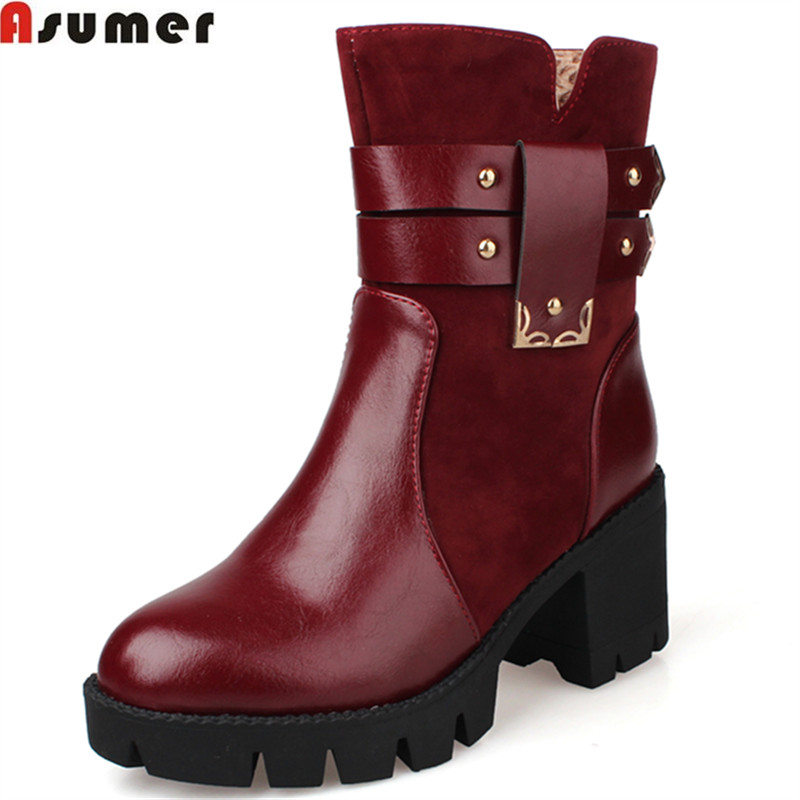 New Arrival 2016 Autumn Winter Women Boots Med Heel Round Toe Platorm Shoes Solid Black Fashion
