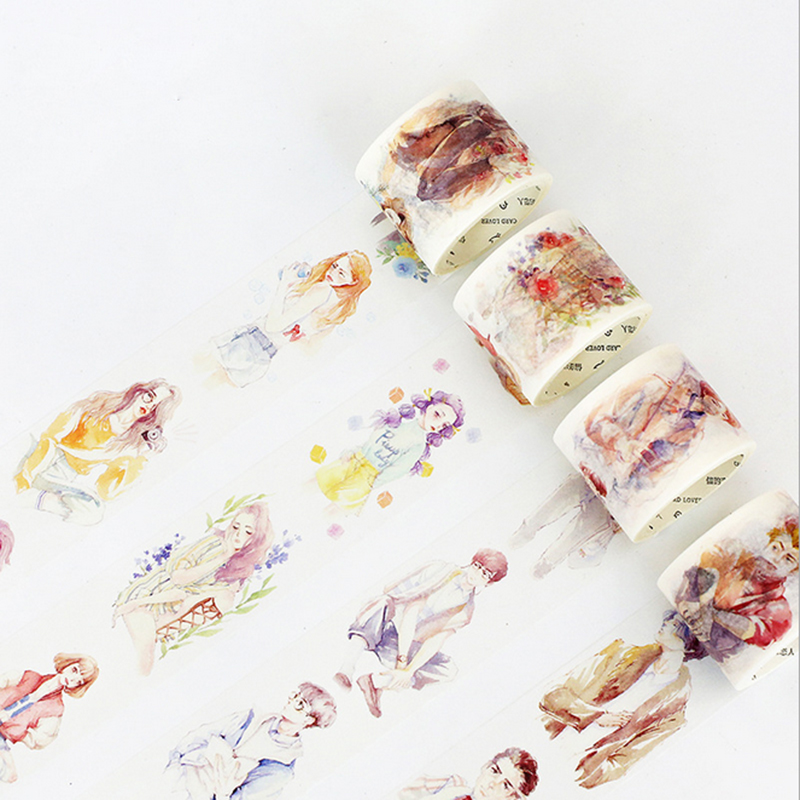 40mm*7m Watercolor characters washi tape sticker kawaii stationery scrapbooking planner masking tape office adhesive DIY tape ezone 1pc kawaii watercolor sakura petal washi tape diy decorative scrapbooking sticker planner masking adhesive tape stationery