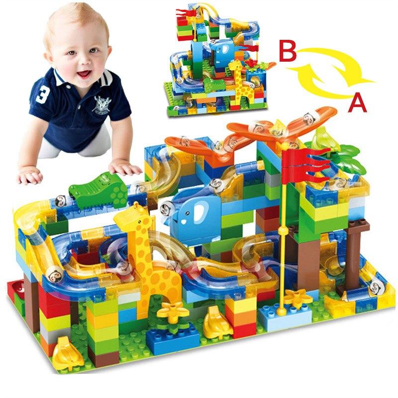 168 pc tamanho grande tijolos compatível duplo mármore corrida labirinto bola pista blocos de construção funil plástico slide