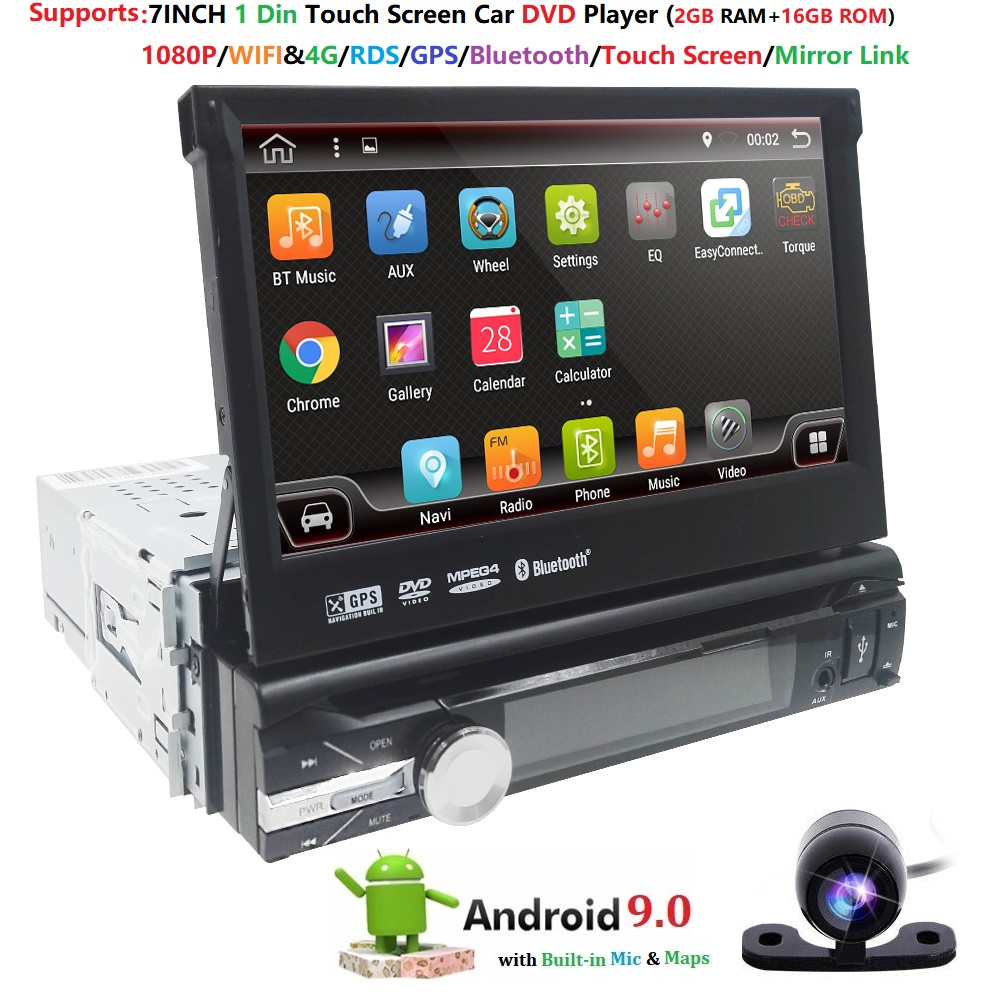 2GB+16GB Car Stereo Autoradio GPS Navigation For Universal Single Android 9.0 1 Din Quad Core 1024*600 GPS Head Unit WIFI BT CAM