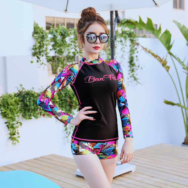 2019 Newest Two Piece Sport Swimwear Long sleeve shorts Surfing Suits Ladies Beach Wear Summer Suits Rashguards sports Yoga suit