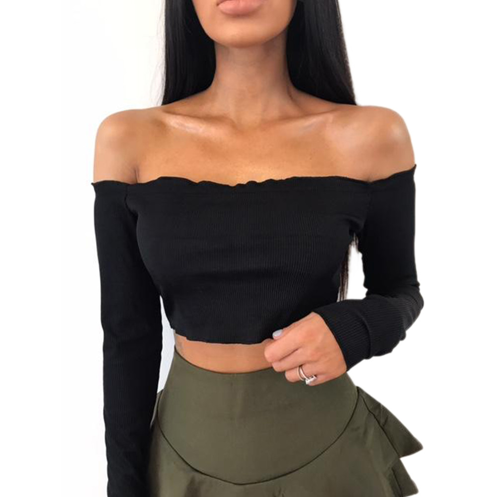 New Hot Womens Off Shoulder Crop Tops Frill Bralet Boobtube Jumper Tops camisetas mujer ropa mujerdrop shopping
