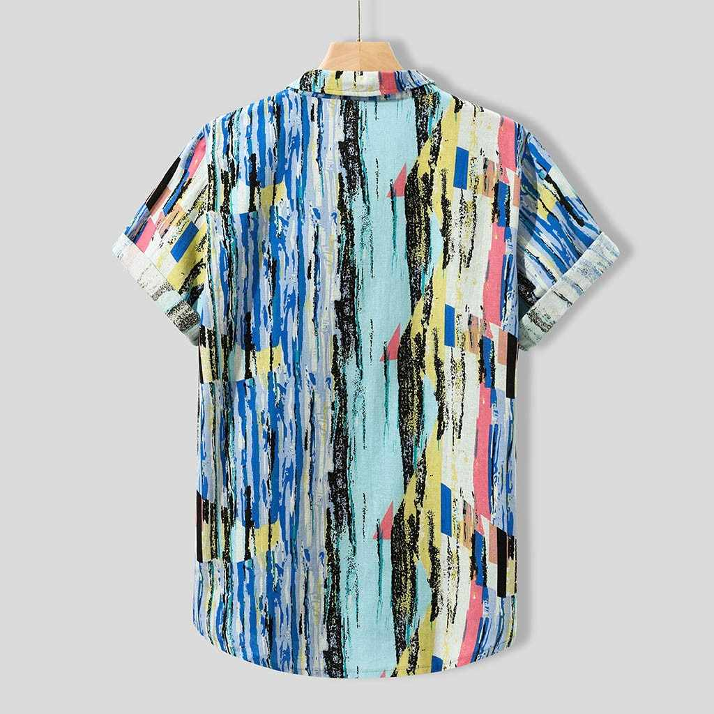 カジュアル男のシャツ 2019 夏のビーチのシャツブラウスストライププリントアロハシャツ男性ビーチウェア半袖カジュアルストリート
