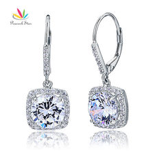 Pavo real Estrella de 2.5 Quilates Corte Redondo Diamante Creado Pendientes Solid 925 Novia de La Boda Cuelgan Joyería CFE8122