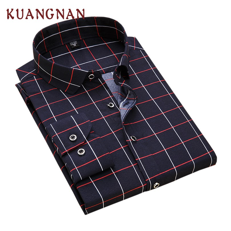 KUANGNAN Plaid Men Shirt Long Sleeve Casual Slim Fit Streetwear Men Shirt Man Long Sleeve Plaid Shirt Men Clothes 2019 New
