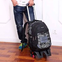 ZIRANYU 6 Wheels Laptop Removable Rolling Backpack Wheeled Book Bag Kids Children Trolley School Bags Travel