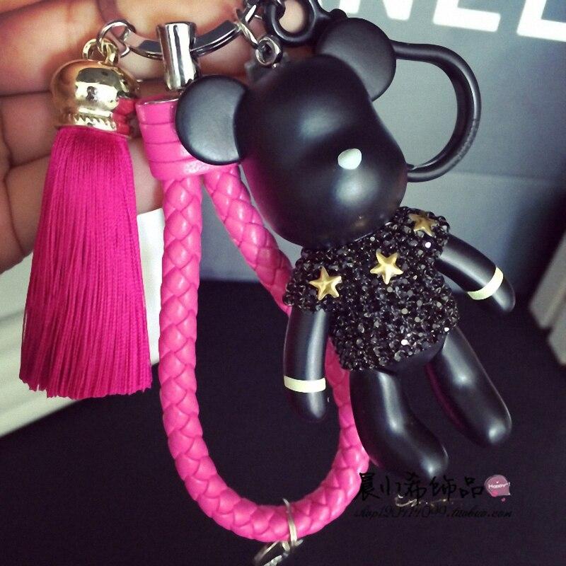 Bomgom Tassels Cartoon Popobe Gloomy Bear Keychain Cute Bag Charm Holder Cartoon Resin Key Chain Fi-K004-rose