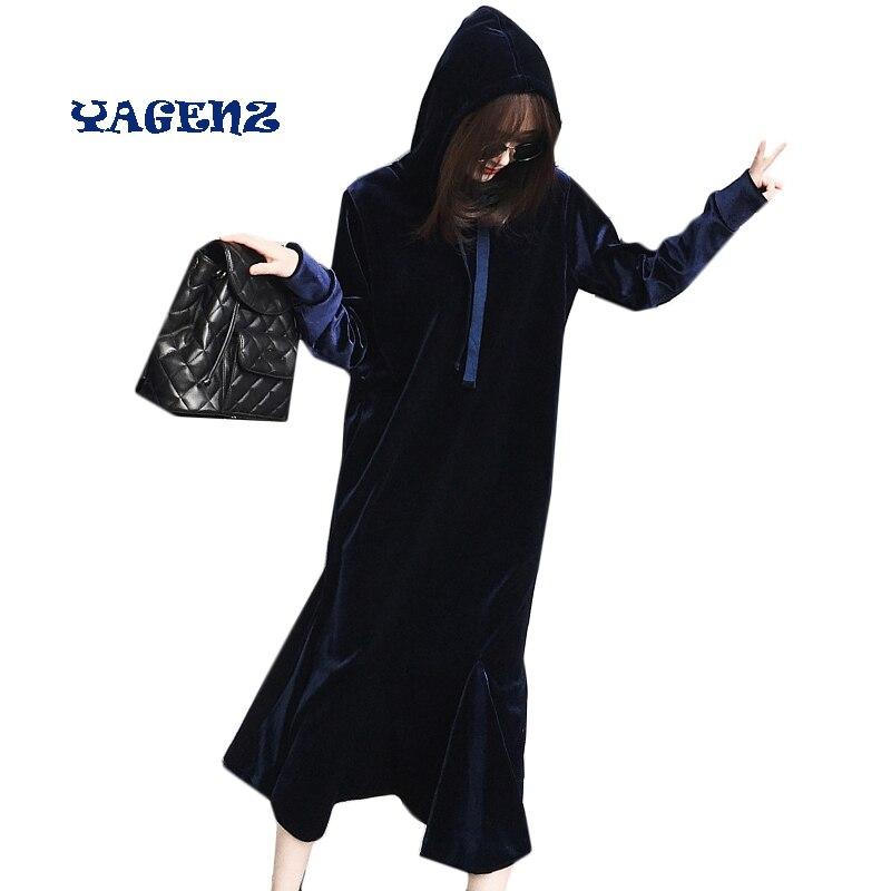 Bleu Royal femmes velours robes automne hiver sweat à capuche pour femme robe femmes poisson queue robe longue velours robe Slim
