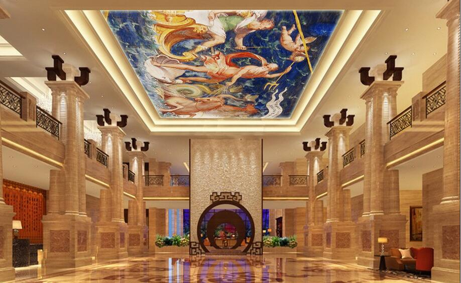 3d room wallpaper custom mural non-woven wall sticker 3 d Poseidon European travel  ceiling mural photo wallpaper for walls 3d 3d room wallpaper custom mural non woven 3 d european angel figure looking down ceiling mural photo wallpaper for walls 3d