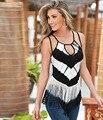 Новый 2016 мода сексуальная рукавов спагетти ремень полосатый принт кисточкой женщины топы майки лето свободного покроя тонкий жилет танки на топы