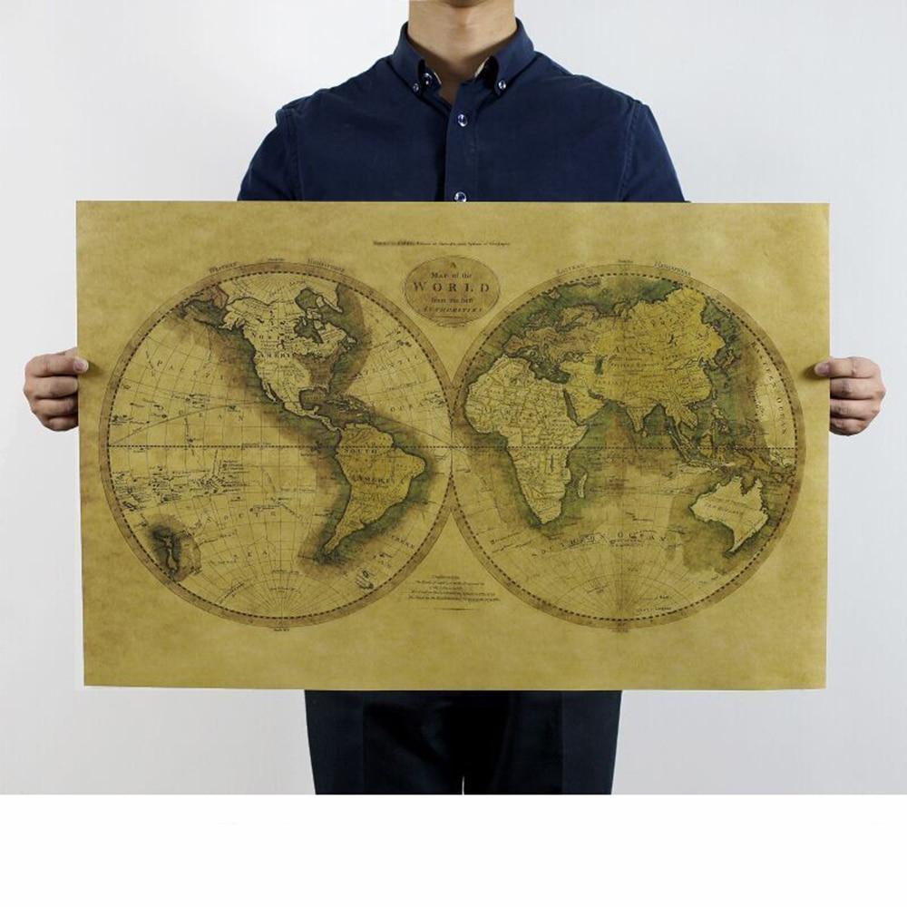 Retro Kraft Paper World Map Office Living Room Bedroom Decor 72.5X46.5cm