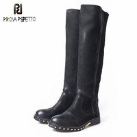 Prova Perfetto High Quality Sheepskin Leather Concisc Long Boots Women Over The Knee Boots Ladies Low
